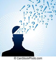 spørgsmål marker, og, den, person