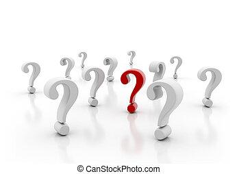 spørgsmål marker, singel, beliggende, rød, ydre