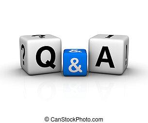 spørgsmål, og, svar, terninger, symbol
