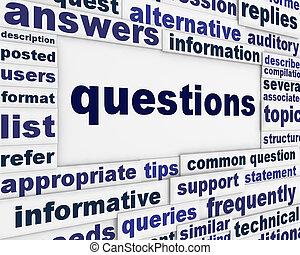 spørgsmål, plakat, begreb