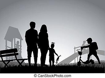 spędzając, time., czynnie, rodzina