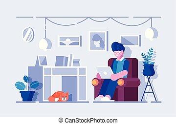 spędzając, wolny czas, dom, rysunek, człowiek