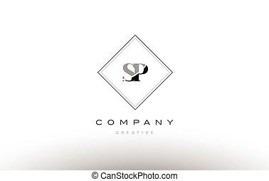 Sp S P White Letter Logo Design With Black Background Sp S P White