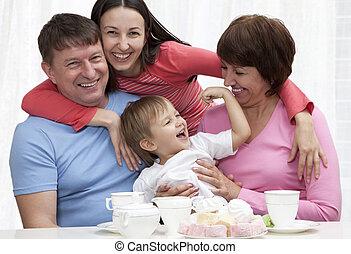 spaß, ausgedehnt, gruppe, familie