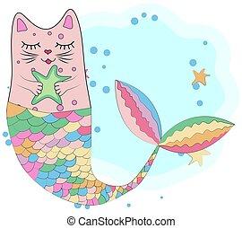 spaß, einhorn, magisches, mermaid., katz