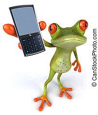 spaß, frosch, mit, a, telefon