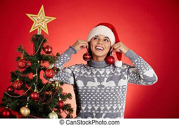 spaß, per, weihnachtsbaum