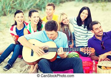spaß, sandstrand, friends, gruppe, haben