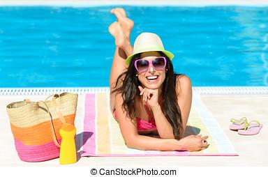spaß, sommer urlaub, an, teich