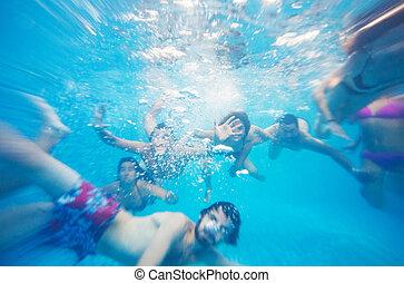 spaß, underwater, leute