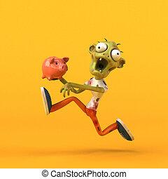 spaß, zombie, -, abbildung, 3d