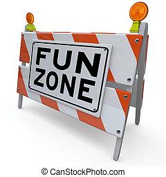 spaß, zone, barrikade, baustellenschild, kinder, spielplatz