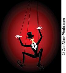 spaßmacher, marionette, gericht, hält