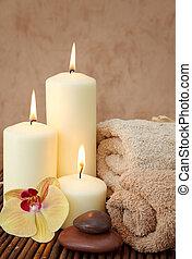 spa, à, blanc, bougies