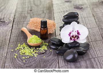 spa, à, huile essentielle, et, pierres