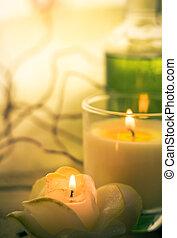 spa, éléments, traitements, parfumé, bougies