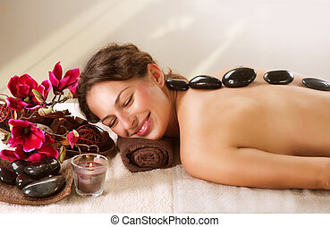 spa., горячий, камень, massage., dayspa