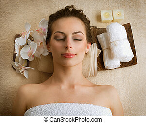 spa, 妇女, 在中, 美容院