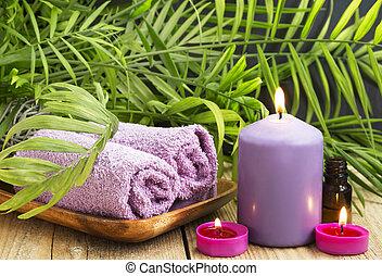 spa., 必要, 蝋燭, タオル, いい香り, オイル