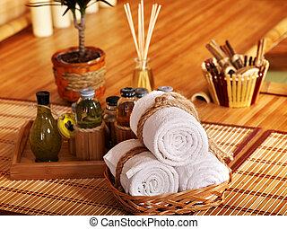 spa, 生活, 仍然, bamboo.