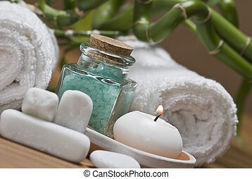 Spa 17. - Spa background witn a candle and bath salts.