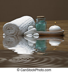 Spa 30. - Spa background witn a candle and bath salts.