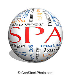 Spa 3D sphere Word Cloud Concept