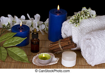 spa, accessoires, lueur bougie, traitements