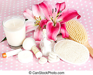 spa accessories. pink