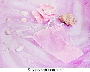 woman purple spa disposable panties for depilation