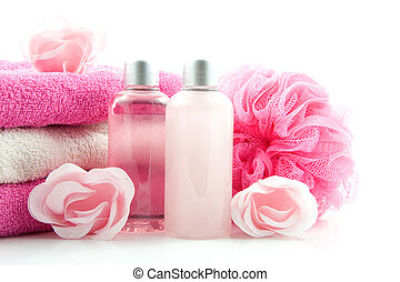 Spa accessory - pink colored bath accessory, isolated on...