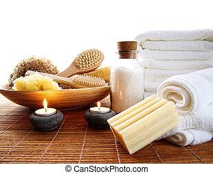 spa, acessórios, com, toalhas