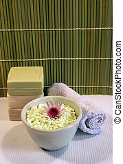 Spa and beauty - Bath crystals, soap and a face cloth at a...