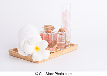 Spa and beauty treatment with rose liquid soap,pink...