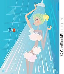 Young blonde woman has refreshment in shower. Water stream and blue tiled bathroom in background.