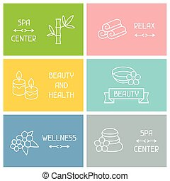 Spa and recreation business cards with icons in linear...