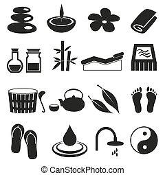 spa and relaxation simple black icons set eps10