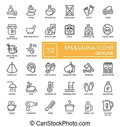 Spa and sauna relax icons on White Background. Flat line outline icons. Eps 8