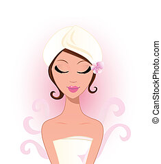 Spa woman with pink flower. Vector Illustration.