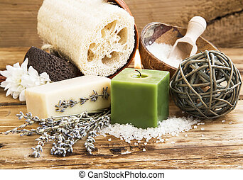 Spa and Wellness Setting on Wooden Background with Burning Candl