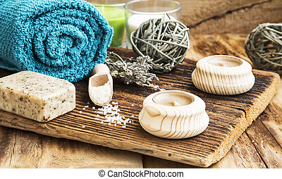 Spa and Wellness Setting on Wooden Background with Towel, Candle
