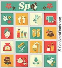 spa, apartamento, colorido, ícones