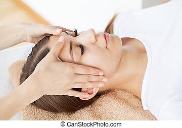 spa, apprécier, masage, facial, femme, salon, jeune