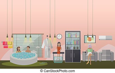 Spa aqua, facial and fish therapy concept vector illustration