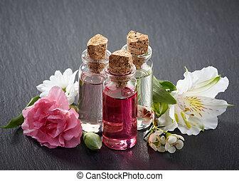 spa, aromathérapie, bouteilles, huiles essentielles