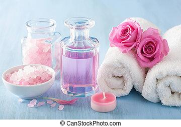 spa, aromatherapy, met, roos, bloemen, parfum, en, kruiden,...