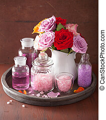 spa aromatherapy with rose flowers essential oil salt