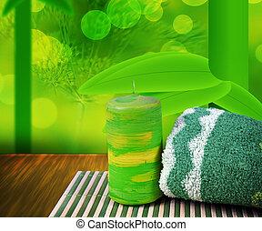 spa, arrière-plan vert