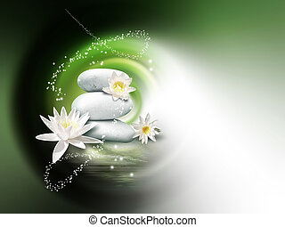 spa background - bright stones and lily flowers on the water...