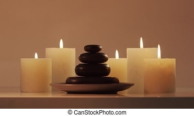 Spa background composition. Massage, oriental therapy, wellbeing and meditation concept.